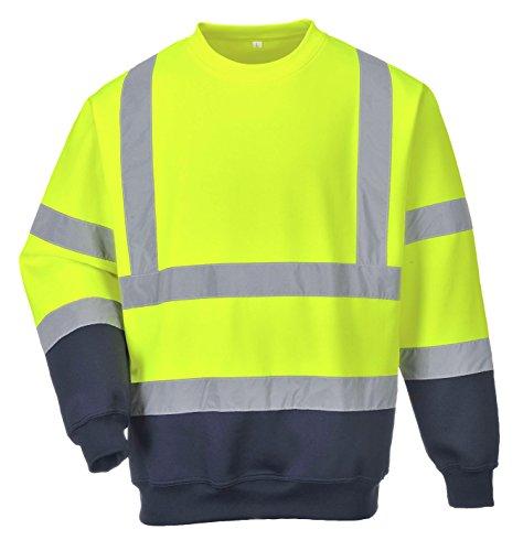PORTWEST B306 - Two Tone Warnschutz-Sweatshirt, 1 Stück, XL, gelb/marine, B306YNRXL