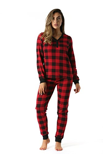 #followme Buffalo Plaid 2 Piece Base Layer Thermal Underwear Set for Women 6372-10195-NEW-RED-L