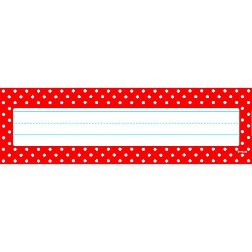 Polka Dots Red Desk Toppers Name Plates by Trend Enterprises Inc