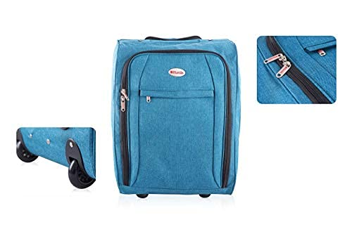 Flight Hand Luggage with Wheels | Lightweight Suitcase Cabin Approved Trolley Bag | 50 X 35 20 cm (Petrol)