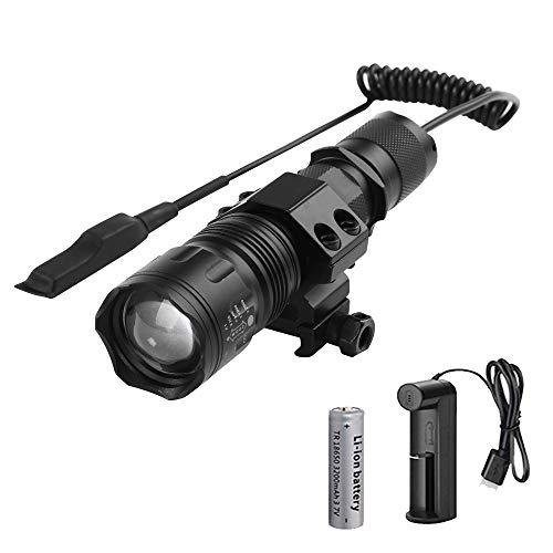 Linterna Táctica LED Recargable, WESLITE 1200 Lúmenes Linternas de Alta Potencia para Caza Zoom capaz & Impermeable 5 Modos con Interruptor de Presión Batería y Cargador ⭐