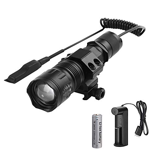 Linterna Táctica LED Recargable, WESLITE 1200 Lúmenes Linternas de Alta Potencia para Caza Zoom capaz & Impermeable 5 Modos con Interruptor de Presión Batería y Cargador