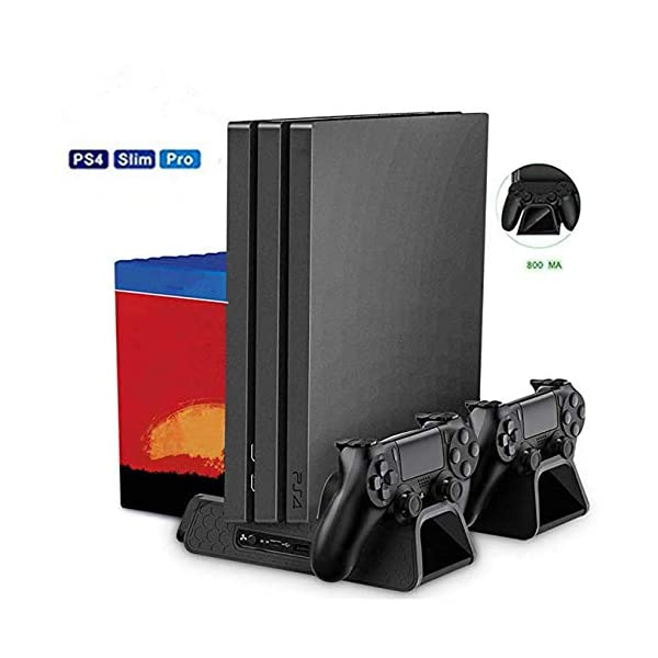 PS4 Vertical Stand with cooling Fan, LENBOKEN PS4 Controller Charging Station Regular...