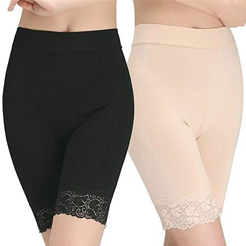 Damen Panties Hose, Lange Frauen Panties,Miederhose Hose Unter Rock Unterhosen(Black+Skin)