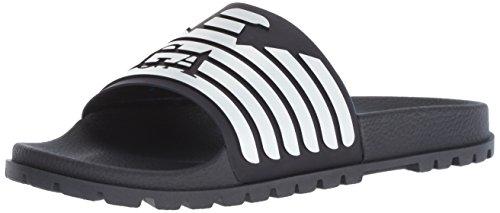 Emporio Armani Herren Open Toe Logo Sandal Slipper, Blau+Nacht/Weiß, 42 EU