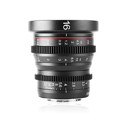 MEKE 16mm T2.2 Manueller Fokus Weitwinkelobjektiv für M43 Micro Four Thirds MFT Mount Kameras und Kinokamera BMPCC