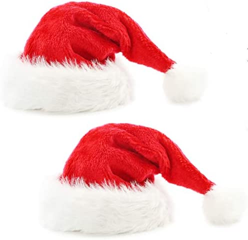 2pcs Santa Hats Red Fluffy Christmas Santa Hat for Adults Men Women with Plush Brim and Comfort product image