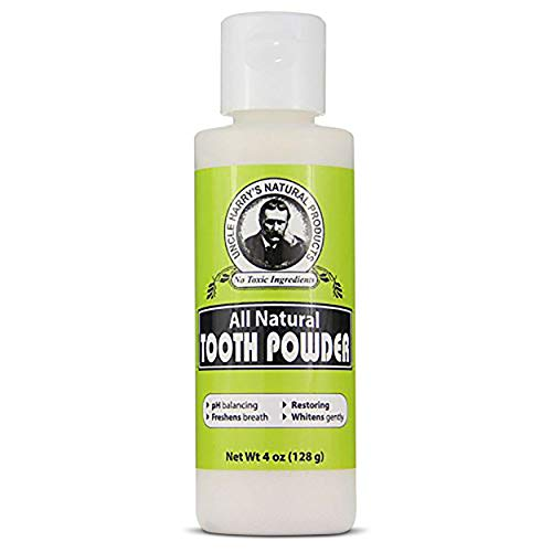 Uncle Harry's Remineralizing Tooth Powder | All Natural Enamel Support & Whitening Toothpaste for Sensitive Teeth | Organic Powder Toothpaste for Gum Health & Fresh Breath (4 oz)