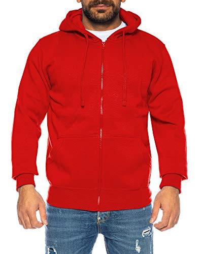 Raff & Taff Herren Hoodies Kapuzenpullover Sweatjacke Übergangsjacke Jacke Basic Schlicht bis 6XL (Rot, XXXL)