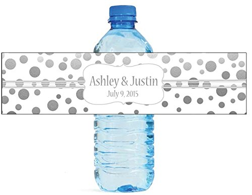 """100 Silver Confetti White Background Wedding Water Bottle Labels Engagement Party 8""""x2"""""""