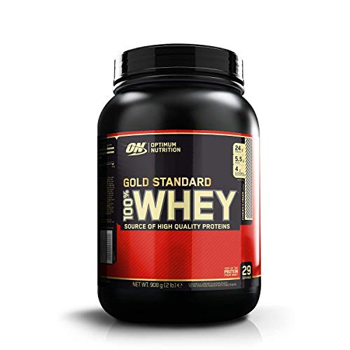 Optimum Nutrition ON Gold Standard Whey Protein Pulver, Eiweißpulver zum Muskelaufbau, natürlich enthaltene BCAA und Glutamin, Cookies & Cream, 29 Portionen, 900g, Verpackung kann Variieren