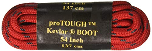 54 Inch Heavy Duty proTOUGH(TM) Kevlar Reinforced Boot Laces Shoelaces RED w/Black - 2 Pair Pack