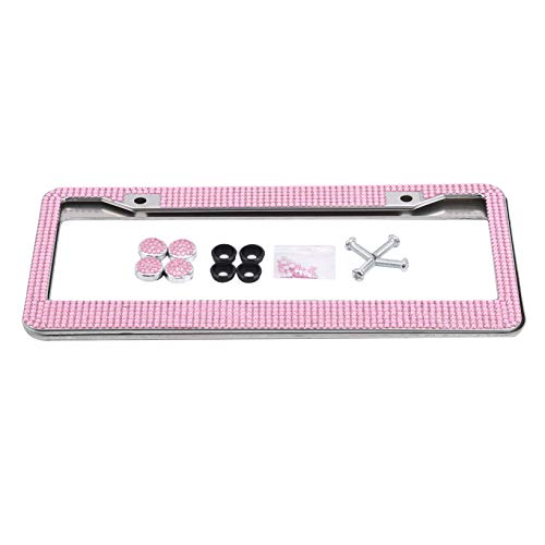Kissherely 2 Pcs Set Car License Plate Stainless Steel Durable Sturdy Shining Colorful Rhinestones Handcrafted License Plate Frames for Auto,Pink