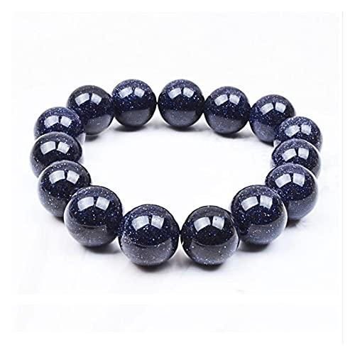SZBLYY Pulsera Mujer Pulseras de Cuentas de Arenisca Azul Marino Vintage para Las Mujeres en la Mano de la Mujer Joyería de Moda Chakra Beads Gift Charm Bracelets (Metal Color : 8mm)