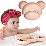 Suction Plates for Babies and Toddlers - Non Slip Silicone Baby Weaning Plate - Stay Put Toddler Feeding Plate with Suction - Kids Placemat for No More Meal Time Mess (Pink)