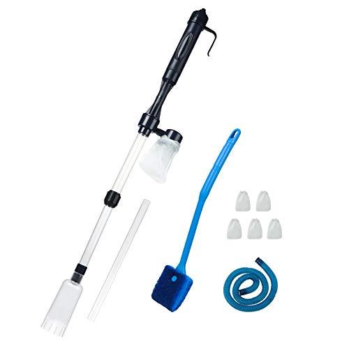 Limpiador eléctrico de grava para acuario, batería para aspiradora, filtro de agua, bomba de sifón para tanque de peces con 5 bolsas de filtro