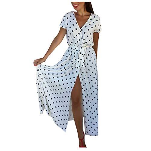 XIMIN Women's Fashion Casual Short Sleeve V-Neck Low Cut Printed Polka Dot Dress Beach Maxi Dress (White, Size:XXL)