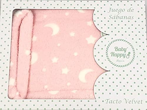 Sábanas Cuna Invierno Velvet Cuna 60 x 120 cm ( Bajera, encimera y Funda de Almohada ) (Cielo Rosa)