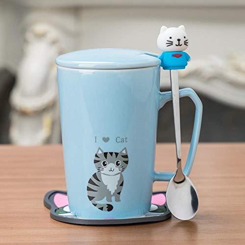 HENGCHENG Espressotasse Geschenk Kreative Kaffeemit Löffel Deckel 350 Ml Niedlichen Cartoon Affen Hase Bär Keramik Milch Tee Für Weihnachts, 2