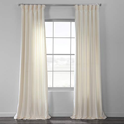 HPD Half Price Drapes BWLK-1853-96 Cotton Textured BarkWeave Curtain (1 Panel), 50 X 96, Pale Ivory