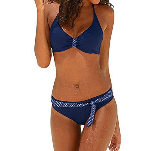 SuperSU Damen Große Größen Punkt Print Spleiß Zurück Frenulum Split Badeanzug,Frauen Sexy Bikini Zweiteilig Bauchweg,Bademode Push-Up Einteiliger Overall