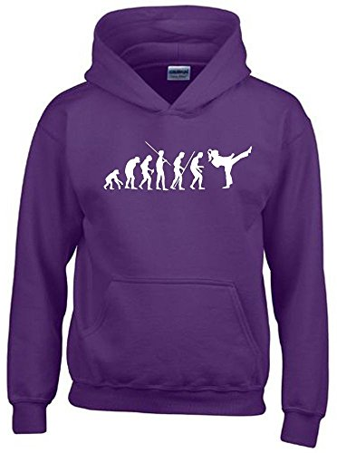 Coole-Fun-T-Shirts Mädchen Karate Kickboxen Evolution Kinder Sweatshirt mit Kapuze Hoodie lila-Weiss, Gr.152cm