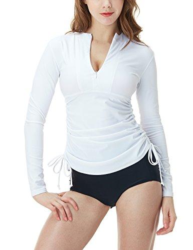 TSLA Women's Half-Zip Front Rash Guard, UPF 50+ Side Adjustable Long Sleeve Swim Shirts, UV/Sun Protection Wetsuit Swimsuit Top, Half Zip(fsz04) - White, XX-Large