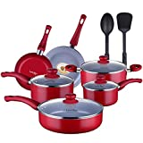 AMERICOOK Red Pots and Pans Set, 12 Piece, Kitchen Non-stick Pots and Pans Cookware Set for Cooking...