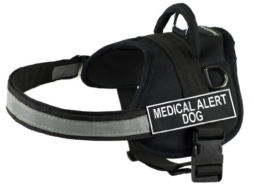 DT Works Harness, Medical Alert Dog, Black/White, XX-Small - Fits Girth Size: 18-Inch to 21-Inch
