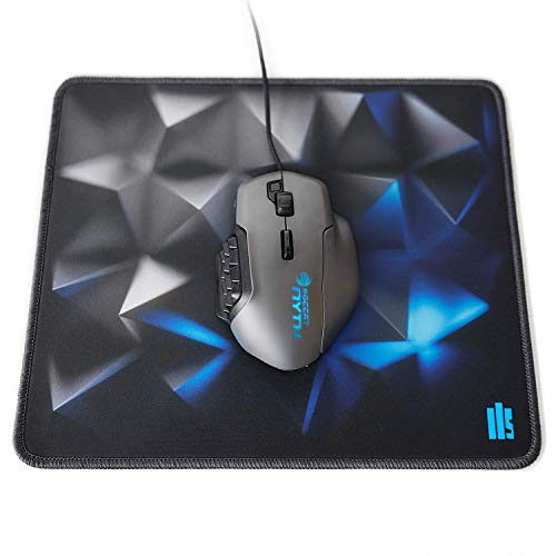 Illusionhills 3D Mouse Pad - Black Print Design - Stitched Edge Mousepad Mat - Heavy 3.5 mm Thick - Smooth Gaming Performance Desk Mat - Medium Size