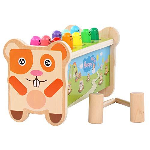 BeebeeRun Montessori Juguetes de Bancos con Martillo de Madera con 2Mazo Juego para 2 3 4 5 Años Niño,los Primeros Juguetes Educativos de Madera para Mi Niños 【E20200101-Marmota】