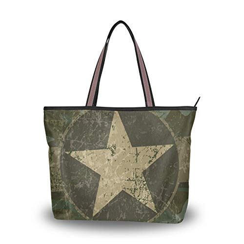 Purse Shopping Tote Bag Light Weight Strap Vintage Military Camo With Star for Women Girls Ladies Student Shoulder Bags Handbags