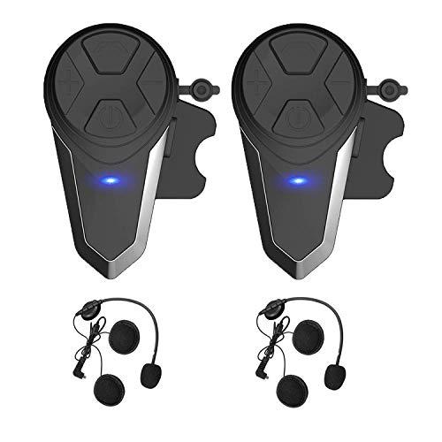 Yideng BTS3 Motorcycle Bluetooth Headset Intercom Motorcycle Helmet interphone Walkie-Talkie Headphone Waterproof Wireless Communication System for 2-3 Riders(2Pack)