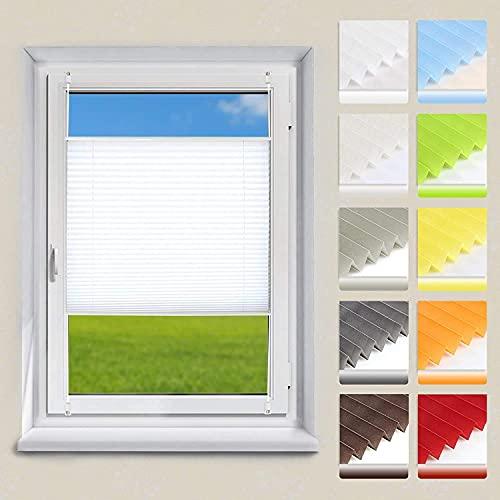 OUBO Plissee ohne Bohren Klemmfix, Weiß 80x120cm (BXH), Jalousie Easyfix Faltrollo mit Klemmträger Sonnenschutz und Sichtschutz lichtdurchlässig Rollo für Fenster & Tür
