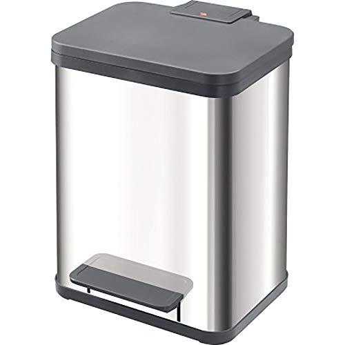 Hailo ProfiLine Solid Öko duo M Mülltrenner (aus Edelstahl/Kunststoff, 2x9 Liter, 2 einzeln herausnehmbare Inneneimer, Deckeldämpfung (Soft Close)) 0622-000