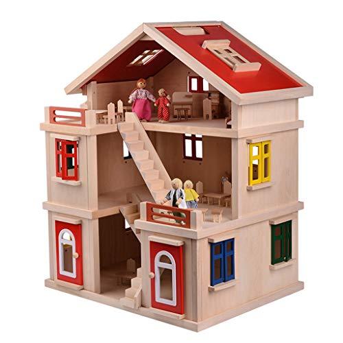Unbekannt Spielhäuser Massivholz Baustein kleines Haus Villa Kinderzimmer Kinderzimmer handgemachtes Haus pädagogisches Spielzeug für Kinder Junge und Mädchen Geburtstagsgeschenk Kinder