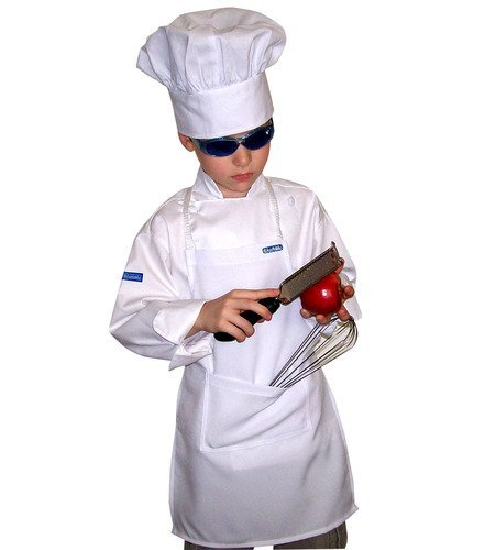 Chefskin Kids Children Chef Set 1 Chef Jacket + 1 Chef Hat + 1 Chef Apron Beautiful Set, Just Like the Original Chefs All in White, Perfect for Costume Halloween Christmas, for School or to Help Mom (All Sizes Available, Xxs Xs Small M L Xl Xxl) (Regular (Fits Kids 6-7))