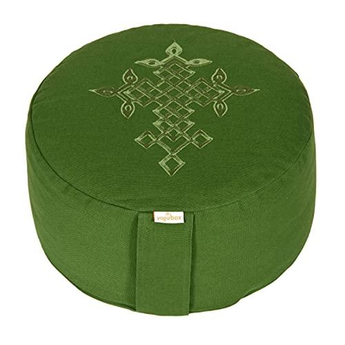 yogabox Meditationskissen Glückssitz keltischer Baum des Lebens grün, Olive/Stick: grün