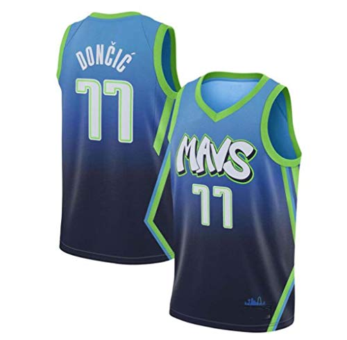 LHWLX Trikot Herren Sport Jersey Lone Ranger # 77 Luca Doncic Basketball Anzug Basketball-Bekleidungssets Für Herren Tops Weste Für Basketballfans (S - XXL) (Blue,M)