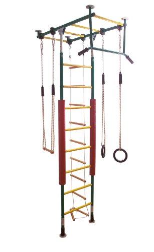 KletterDschungel - das Original - in Kindergartenqualität. Die Sprossenwand als Klettergerüst im Kinderzimmer (Grün/Gelb, für Raumhöhen von 240-300 cm)