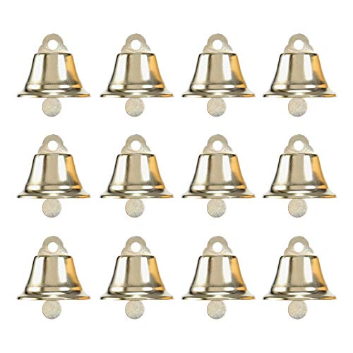 BinaryABC Golden Bell Jingle Bells Christmas Tree Ornaments Decoration,Christmas Tree Pendants,45MM,12Pcs(Golden)