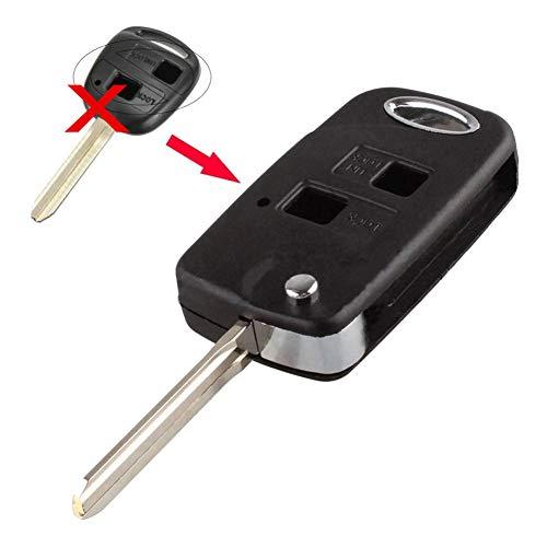 kaakaeu - Funda de Repuesto para Llave de Coche con 2 Botones, Plegable, con Hoja sin Cortar, para Toyota Camry Corolla