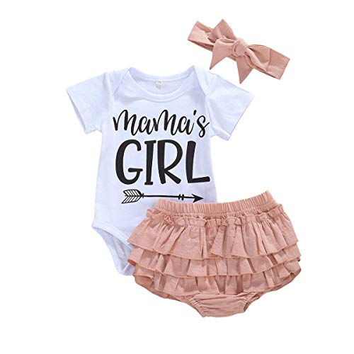 Chollius - Conjunto de ropa de verano para bebé recién nacido, manga corta + pantalón corto + diadema para 0-18 meses blanco 6-9 Meses