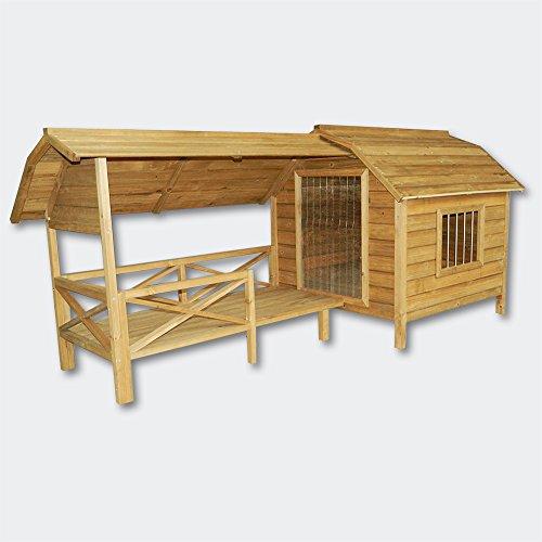 Wiltec XXL Hundehütte Hundehaus Holz Balkon Garten Terrasse Lamellentüre Hund