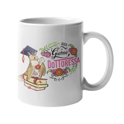 Festival dei Gufi - Taza para Doctora con diseño exclusivo de Búho Laurea Amuleto de la suerte de café y desayuno – Buondia Doctora – para regalar a graduación de cerámica 350 ml
