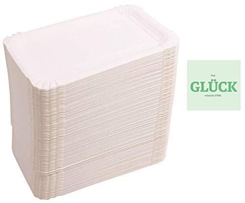 Rick 500 stuks papieren borden hoekig 10 x 16 cm + gratis geluk sticker