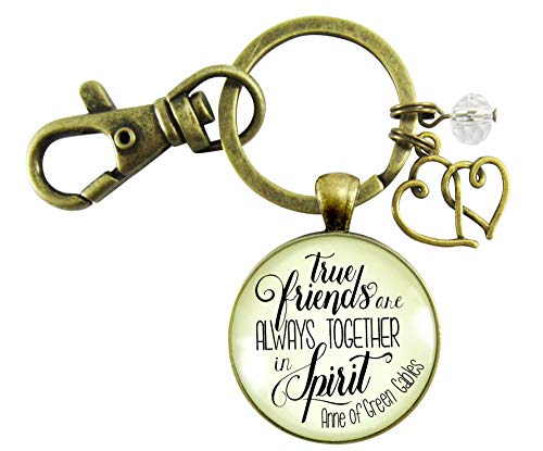 Gutsy Goodness True Friends Are Always Together In Spirit Keychain Friendship Quote Jewelry Gift Heart