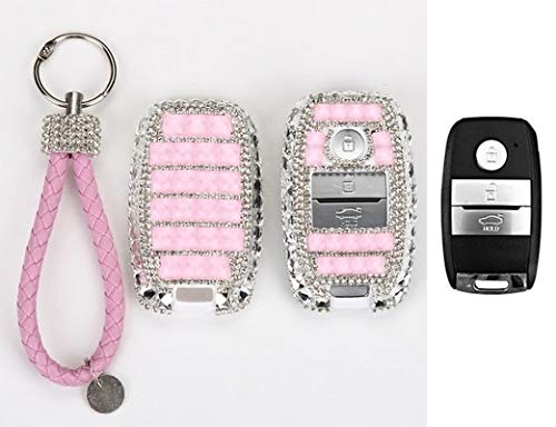 Car Key case Cover Key Bling Shell Luxury White Diamond for KIA Rio Sportage K2 K3 K4 K5 KX3 Ceed Sorento Cerato Optima Frote Pink