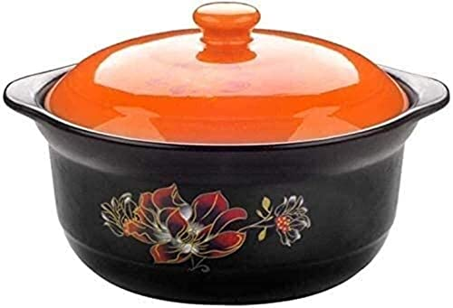 Cazuelas, cazuela de cerámica de alta resistencia a la temperatura, deliciosa actualización, rica nutrición, cazuela que puede hacer sopa (color: naranja, tamaño: capacidad 2,2 L)