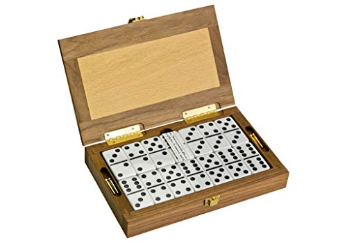 'Club Alex' Luxury Domino Set With Handcrafted Walnut-Framed Beechwood Case and Cribbage / Counter Top - Tournament Quality 28 Indestructible Double-Six Dominoes